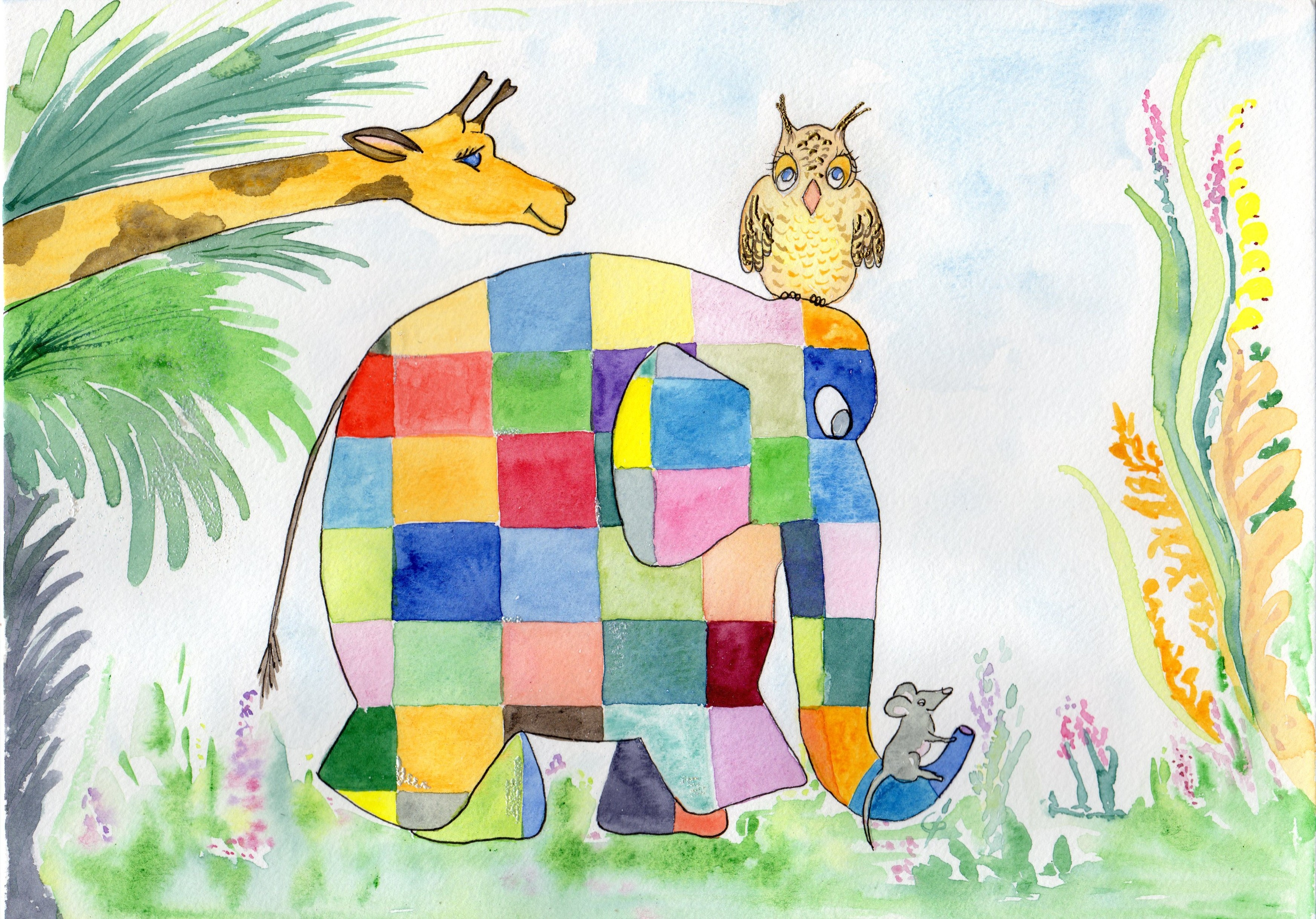 elephant à carreaux001